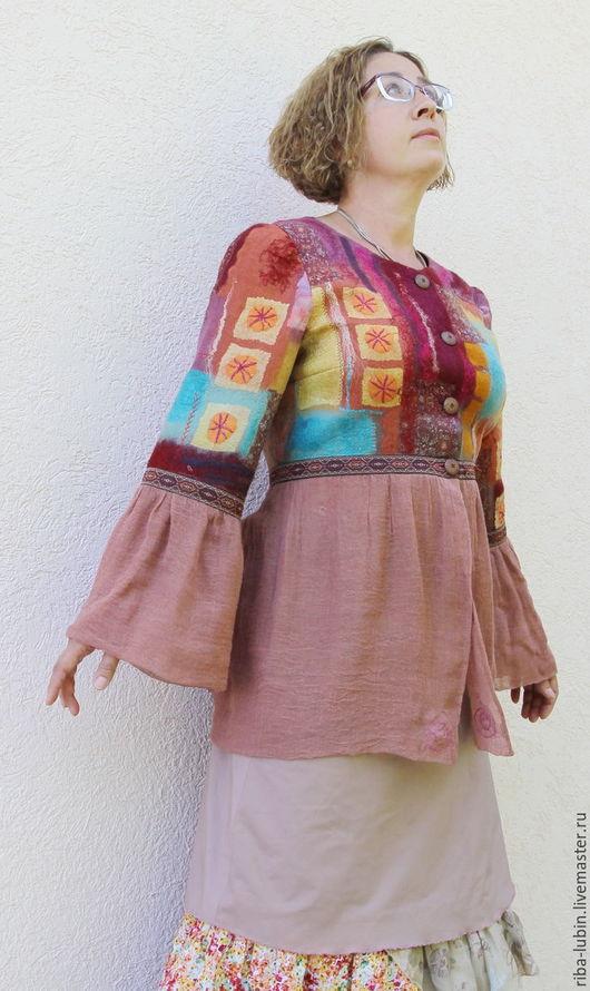 """Пиджаки, жакеты ручной работы. Ярмарка Мастеров - ручная работа. Купить Жакет валяный """"Андалусия"""". Handmade. Комбинированный, золотистый"""