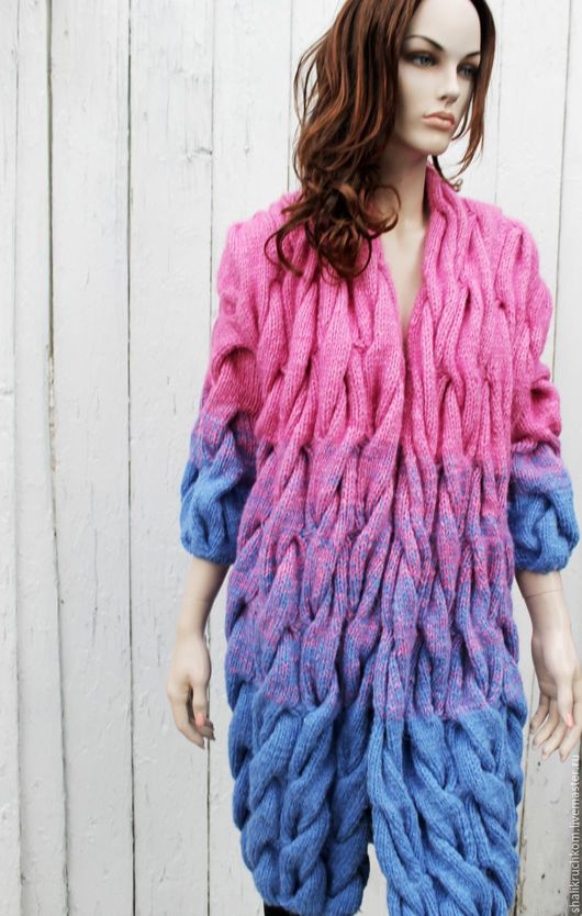 Кофты и свитера ручной работы. Ярмарка Мастеров - ручная работа. Купить Вязаный кардиган в стиле шарпей косы ручной работы рукав укороченный. Handmade.