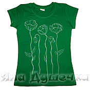 Одежда handmade. Livemaster - original item T-shirt  hand painted poppy flowers. Handmade.