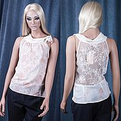 Одежда handmade. Livemaster - original item Blouse in silk crepe with lace. Handmade.
