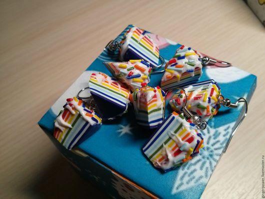 """Серьги ручной работы. Ярмарка Мастеров - ручная работа. Купить Серьги """"Радужные тортики"""". Handmade. Комбинированный, вкусные украшения"""