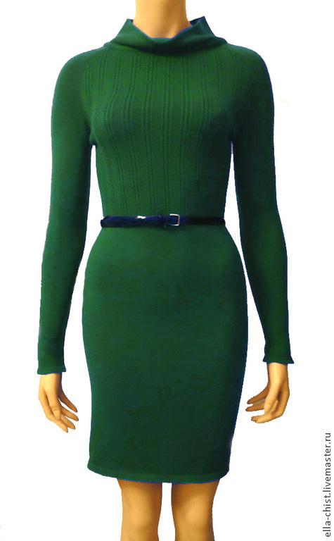 Платья ручной работы. Ярмарка Мастеров - ручная работа. Купить Вязаное платье из эластичной итальянской полушерсти(изумрудно-зелёное). Handmade. Зеленый