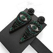 Украшения handmade. Livemaster - original item Long black stud earrings in heart shape. Third eye earrings. Handmade.