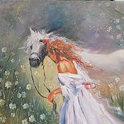 """Картины и панно ручной работы. Ярмарка Мастеров - ручная работа Картина маслом """"Девушка с лошадью"""". Handmade."""