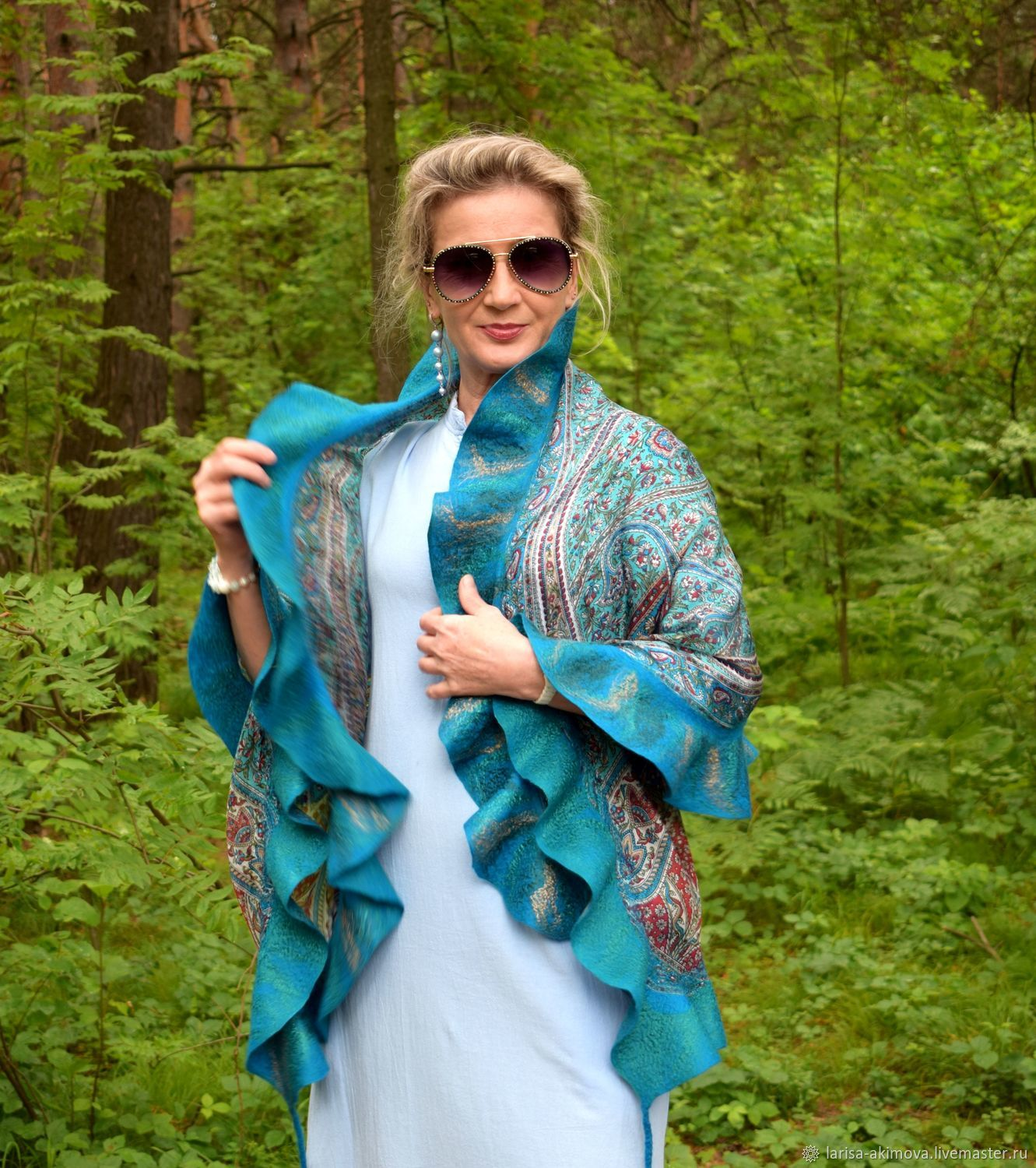Tippet felted the depths of the Sea, silk scarf with flounce, Wraps, Berdsk,  Фото №1