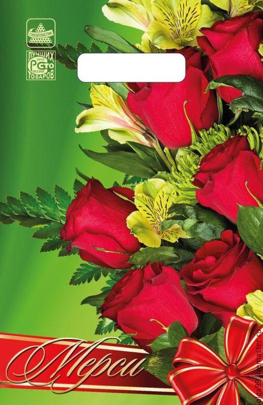 """Упаковка ручной работы. Ярмарка Мастеров - ручная работа. Купить Пакет полиэтиленовый малый """"Мерси"""", 30 мкм.. Handmade. Зеленый"""