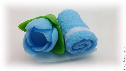 """Мыло ручной работы. Ярмарка Мастеров - ручная работа. Купить Набор """" Полотенце с цветком"""". Handmade. Голубой, полотенце"""