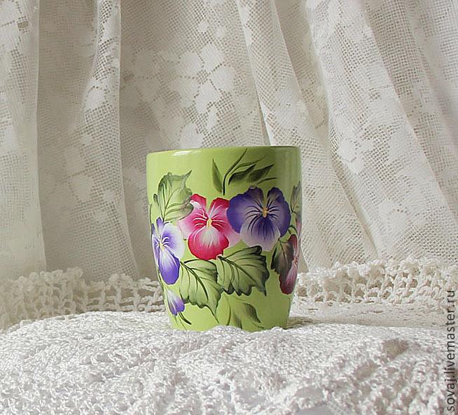 Mugs & Cups handmade. Livemaster - handmade. Buy Mug with painted 'viola'.Green, gifts for women