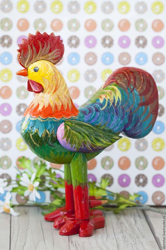 Новый год 2017 ручной работы. Ярмарка Мастеров - ручная работа. Купить Петух деревянная игрушка символ 2017. Handmade. Комбинированный