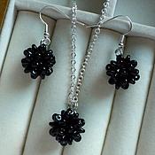 Украшения handmade. Livemaster - original item Pendant and earrings black beaded twin necklace to the black dress. Handmade.
