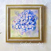 Голубая Гортензия Картина Акварелью Декоративное Панно с Цветами