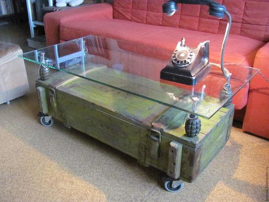 Мебель ручной работы. Ярмарка Мастеров - ручная работа. Купить Журнальный столик. Handmade. Хаки, колеса, стекло