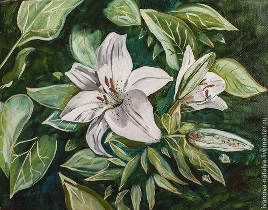 Картины цветов ручной работы. Ярмарка Мастеров - ручная работа. Купить белые лилии. Handmade. Цветок, современная живопись, холст