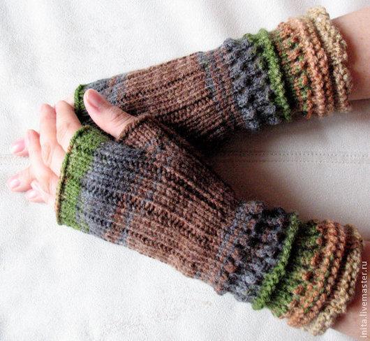 Варежки, митенки, перчатки ручной работы. Ярмарка Мастеров - ручная работа. Купить Митенки,перчатки без пальцев (бежевый, коричневый,серый, зеленый). Handmade.
