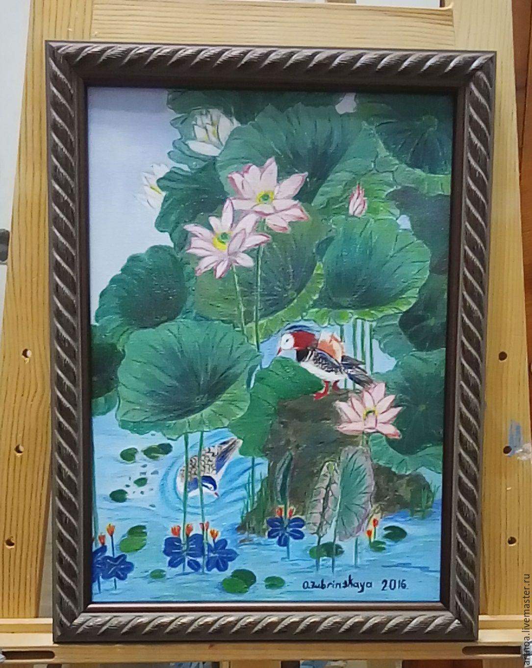 Картина `Лотос и мандаринки`,   выполненная акриловыми красками на холсте, на художественном картоне; покрытая акриловым лаком украсит любой интерьер, создаст атмосферу спокойствия и  безмятежности