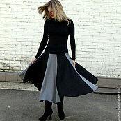 Одежда ручной работы. Ярмарка Мастеров - ручная работа Юбка серо-черная. Handmade.