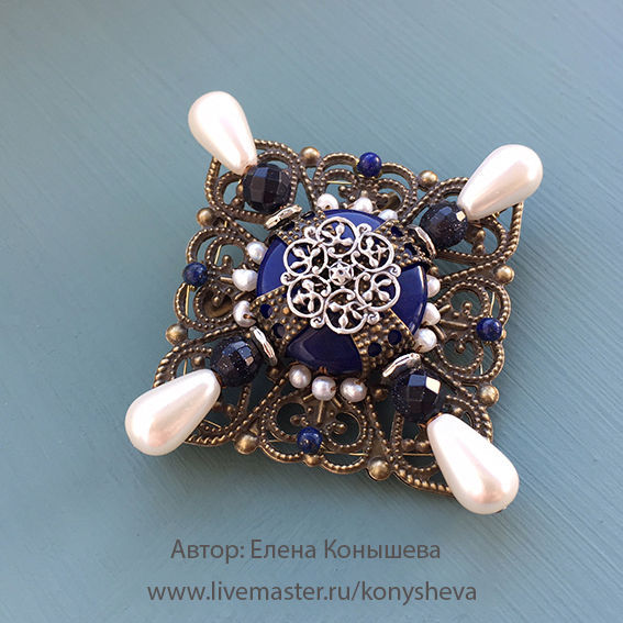 Brooch - cross dark blue with white pearls, Brooches, Moscow, Фото №1