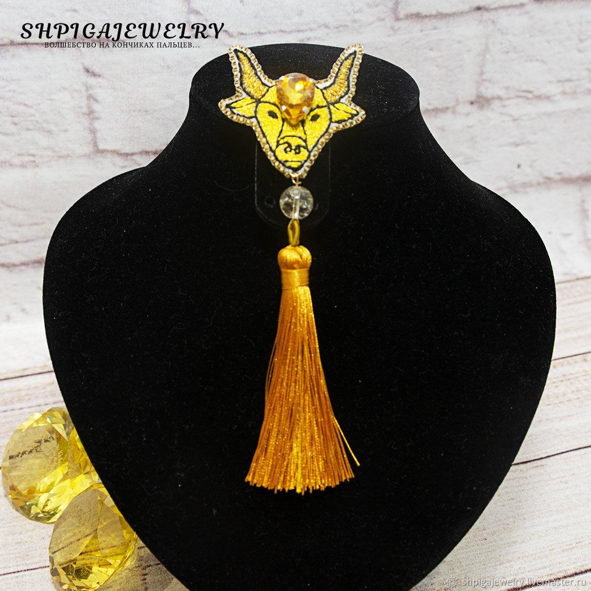 Вышитая брошь - булавка Golden Taurus с натуральным цитрином, Брошь-булавка, Буденновск,  Фото №1