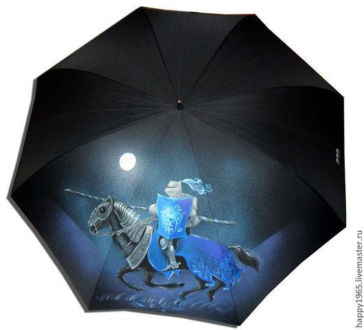 """Зонты ручной работы. Ярмарка Мастеров - ручная работа. Купить Зонт ручной росписи """"Полуночный рыцарь"""". Handmade. Черный, рыцарь"""