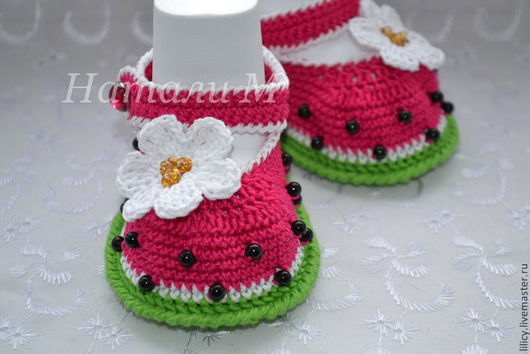 """Для новорожденных, ручной работы. Ярмарка Мастеров - ручная работа. Купить Туфельки """" Арбузики"""". Handmade. Разноцветный, туфельки, туфелька"""