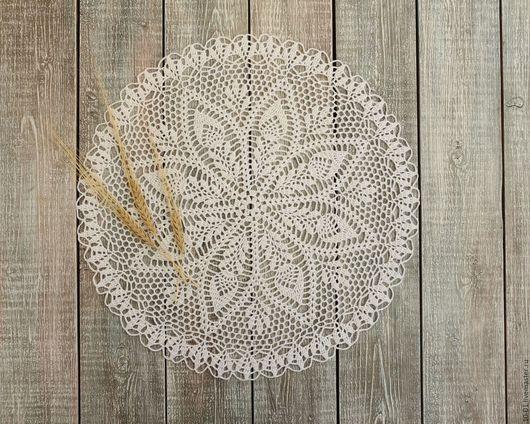 Текстиль, ковры ручной работы. Ярмарка Мастеров - ручная работа. Купить Салфетка крючком Пшеничный цвет. Handmade. Хлопок, крючок