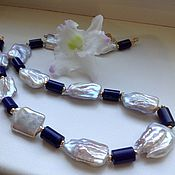 Украшения handmade. Livemaster - original item A necklace of pearls and lapis lazuli