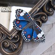 Украшения handmade. Livemaster - original item Brooch leather Butterfly Blue Pansy. Handmade.