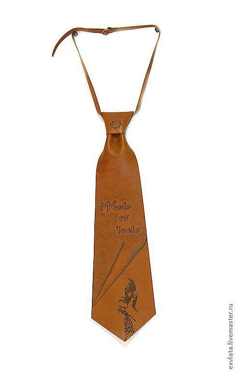 """Галстуки, бабочки ручной работы. Ярмарка Мастеров - ручная работа. Купить Галстук кожаный именной """"Инструмир"""". Handmade. Коричневый, галстук"""