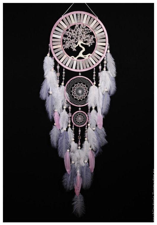 Ловцы снов ручной работы. Ярмарка Мастеров - ручная работа. Купить Dream Catcher Pink Tree of life pink Dreamcatcher Rose quartz. Handmade.
