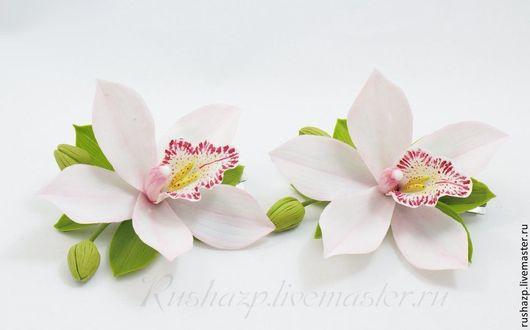"""Заколки ручной работы. Ярмарка Мастеров - ручная работа. Купить Цветы из полимерной глины. Заколка """"Орхидея"""".. Handmade. Бледно-розовый"""