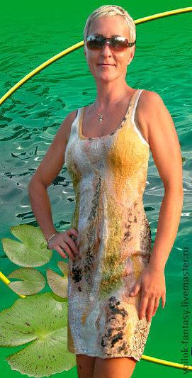 """Платья ручной работы. Ярмарка Мастеров - ручная работа. Купить Платье летнее """"Песчаные отмели"""". Handmade. Войлок ручной работы"""