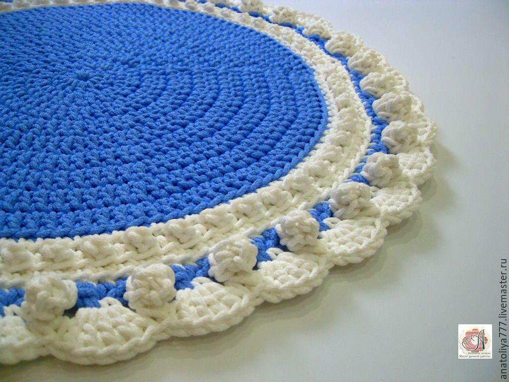 Christmas Mat knitted from cord Snowman, Carpets, Kabardinka,  Фото №1