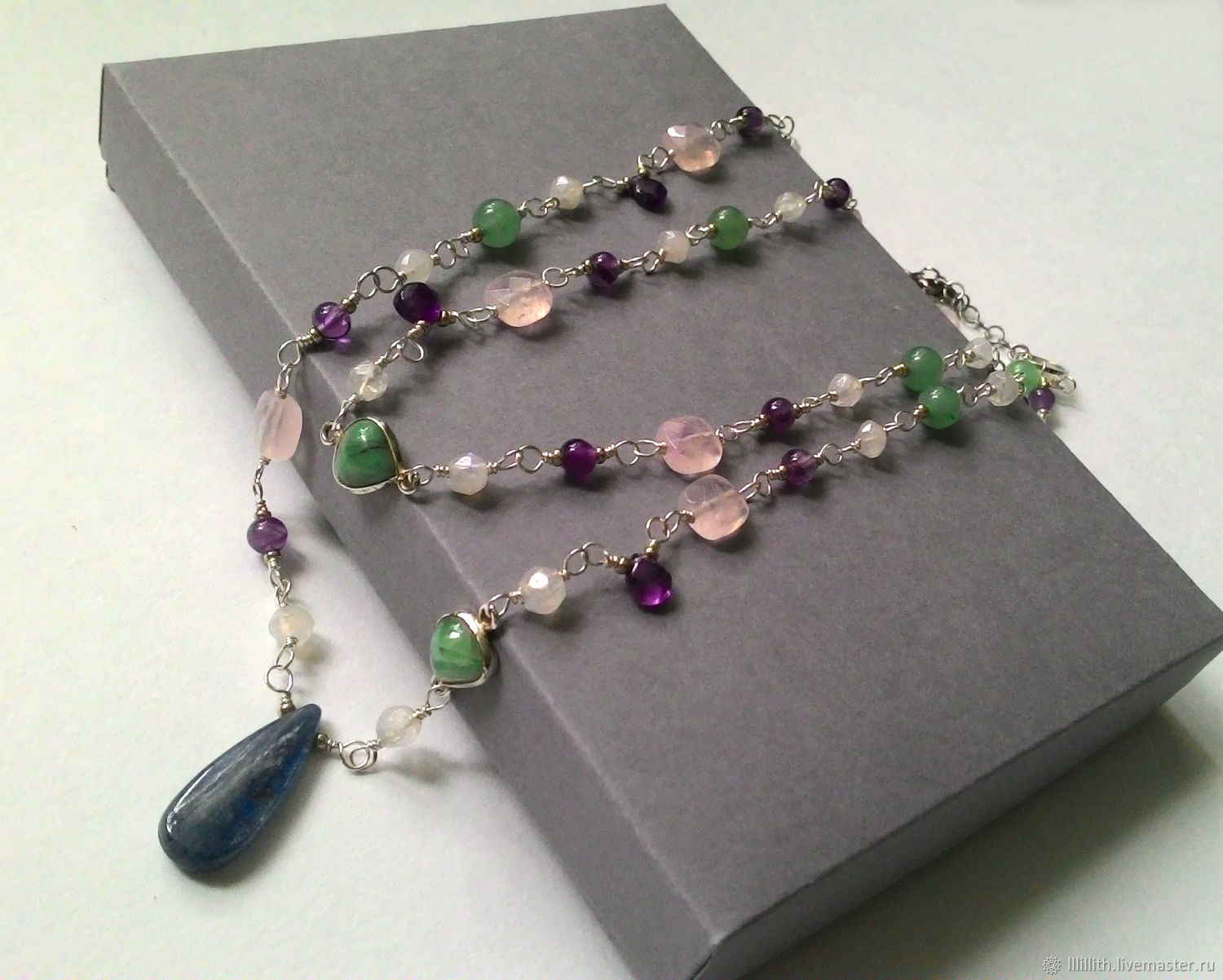 Necklace amethyst, moonstone, clear quartz and aventurine, Necklace, Moscow,  Фото №1