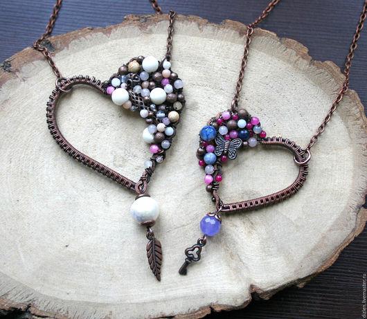 Кулон сердце медный с натуральными камнями wirewrap подвеска сердечко из меди