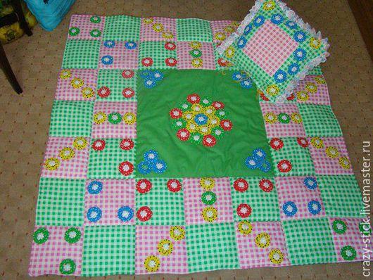 """Детская ручной работы. Ярмарка Мастеров - ручная работа. Купить Комплект """"Радужные квадратики"""". Handmade. Зеленый, лоскутное шитье"""