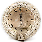 """Для дома и интерьера ручной работы. Ярмарка Мастеров - ручная работа Бежевые настенные часы из каната """"Корабельные"""". Handmade."""