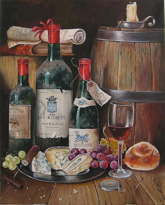 Натюрморт ручной работы. Ярмарка Мастеров - ручная работа. Купить Картина маслом. Урожай. Старое вино (вариант 1). Handmade.