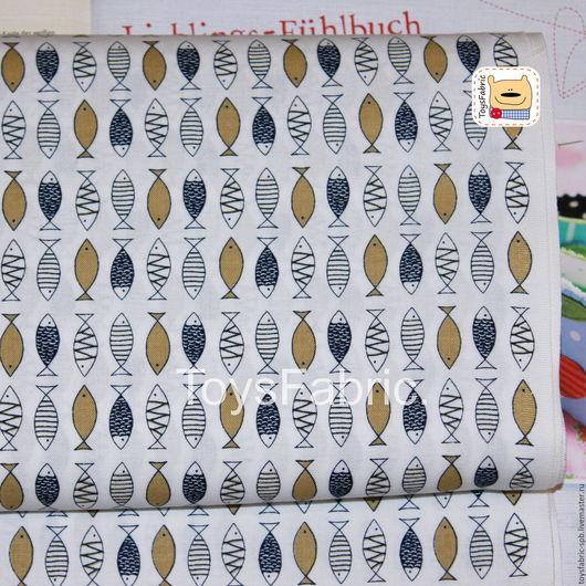 Шитье ручной работы. Ярмарка Мастеров - ручная работа. Купить Ткань корейский хлопок для пэчворка Бежевые рыбки (20495). Handmade.