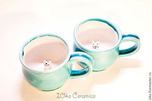 Кружки и чашки ручной работы. Ярмарка Мастеров - ручная работа. Купить Снежные кошки. Handmade. Бирюзовый, лед, зима, кот