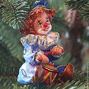 Для дома и интерьера ручной работы. Ярмарка Мастеров - ручная работа Елочные игрушки, папье маше, Клоун фигурка, статуэтка, купить. Handmade.