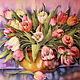 """Картины цветов ручной работы. Ярмарка Мастеров - ручная работа. Купить Батик панно """" Тюльпаны """" на шелке. Handmade."""