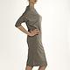 платье серое, платье длиной до колен, платье свободного кроя, платье комфортное, платье удобное, платье на каждый день