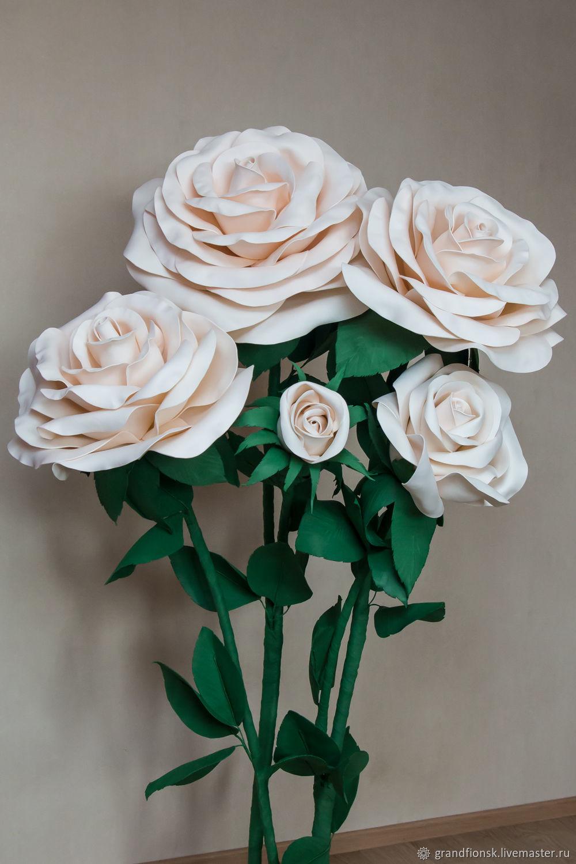 Цветы ручной работы. Ярмарка Мастеров - ручная работа. Купить Куст из пяти роз. Handmade. Розы, бумажные цветы