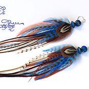 Украшения handmade. Livemaster - original item Blue feather earrings. Handmade.