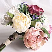 Цветы и флористика ручной работы. Ярмарка Мастеров - ручная работа Букет из пионов на свадьбу или в интерьер. Handmade.