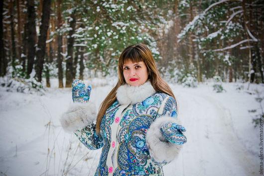 """Верхняя одежда ручной работы. Ярмарка Мастеров - ручная работа. Купить Зимнее пальто """"Настенька"""".. Handmade. Цветочный, весенний ручеек"""