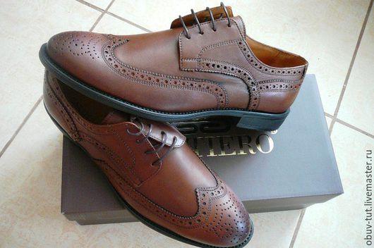 Обувь ручной работы. Ярмарка Мастеров - ручная работа. Купить Туфли оксфорды коричневые, черные натуральная кожа  40,41,42,43,44,45. Handmade.