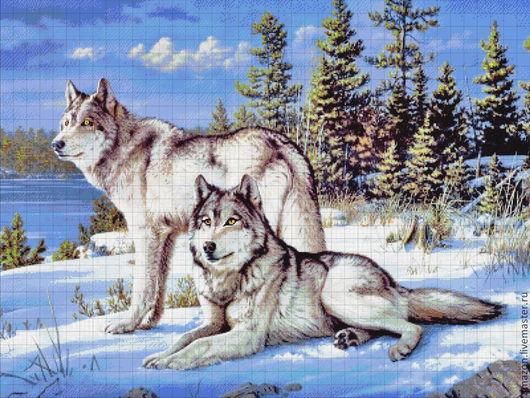 """Вышивка ручной работы. Ярмарка Мастеров - ручная работа. Купить Набор вышивания бисером  """"Волки"""". Handmade. Авторская работа"""