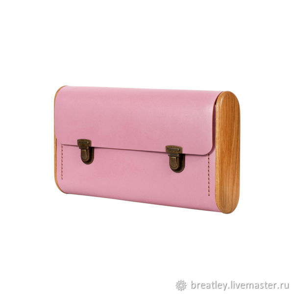 Pink DOUBLE REEL leather clutch - Women's clutch with oak wood, Clutches, Moscow,  Фото №1