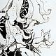 Лилии.Графика.Тушь.Черно-белая картина. Сказка в теплоте рук Коневой Алёны